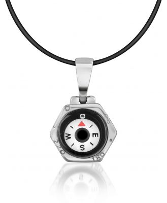 Forzieri Designer Biker Vibe, Stainless Steel Compass Pendant w/Rubber Necklace