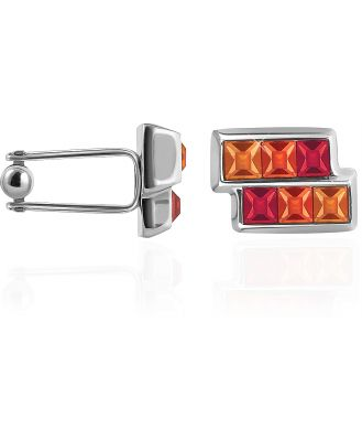 Forzieri Designer Cufflinks, Orange & Red Crystal Cufflinks