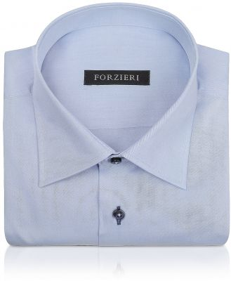 Forzieri Designer Dress Shirts, Blue Twill Dress Shirt