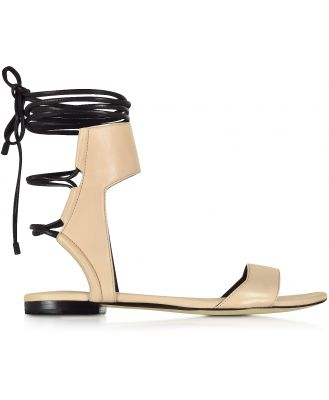 3.1 Phillip Lim Designer Shoes, Martini Light Peach and Black Leather Ankle Lace Flat Sandal