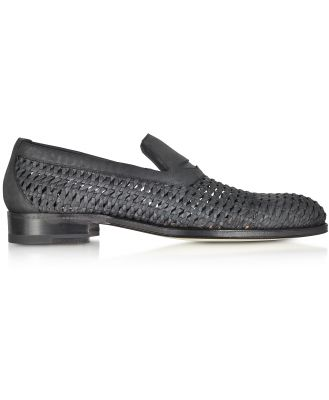 A.Testoni Designer Shoes, Black Woven Leather Slip-on Shoe