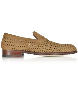 A.Testoni Designer Shoes, Brandy Woven Leather Slip-on Shoe