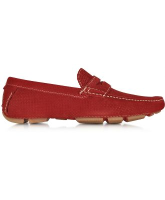 A.Testoni Designer Shoes, Garofano Techno Suede Moccasin Shoe
