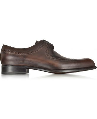A.Testoni Designer Shoes, Moro Washed Leather Derby Shoe