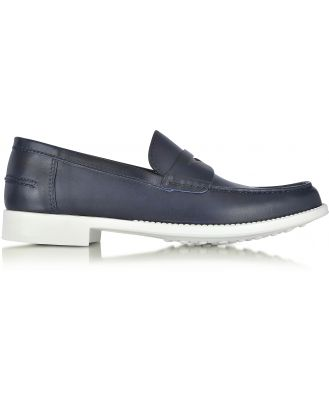A.Testoni Designer Shoes, Navy Leather Moccasin Shoe