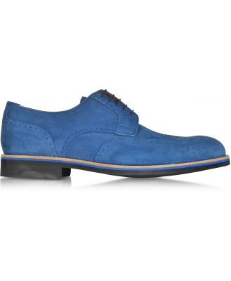 A.Testoni Designer Shoes, Oltremare Suede Derby Shoe