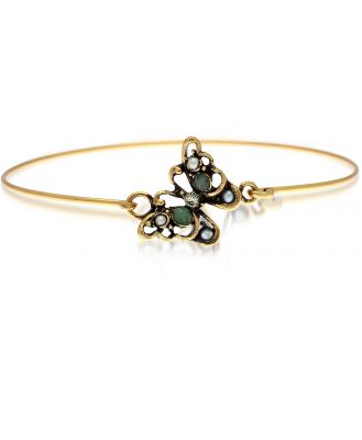 Alcozer & J Designer Bracelets, Butterfly Goldtone Brass Bangle w/Glass Pearls