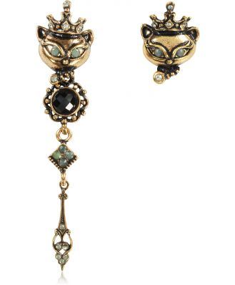 Alcozer & J Designer Earrings, King Cat Asymmetrical Earrings