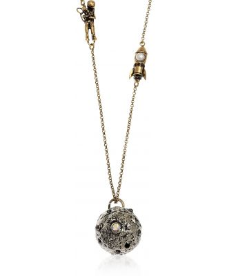 Alcozer & J Designer Necklaces, Astronaut and Shuttle Landing Necklace with Pearl and Garnet.
