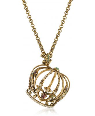 Alcozer & J Designer Necklaces, Crown Golden Brass Necklace w/Frog