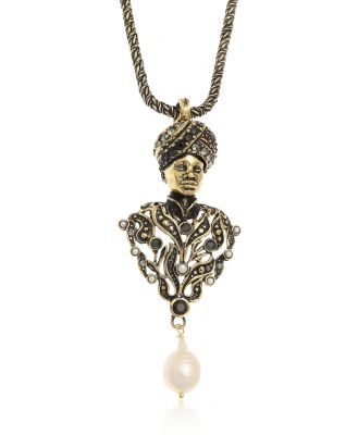 Alcozer & J Designer Necklaces, Golden Brass Moro Charms Necklace w/Pearls