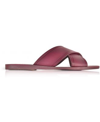 Ancient Greek Sandals Designer Shoes, Thais Raspberry Leather Slide