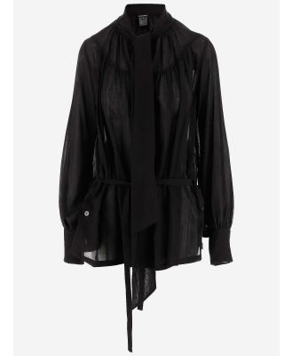 Ann Demeulemeester Designer Shirts, Black Cotton and Cashmere Women's Casual Shirt