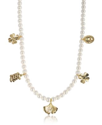 Aurelie Bidermann Designer Necklaces, Cheyne Walk Long Necklace w/Glass Pearls and 18K Gold-Plated Charms