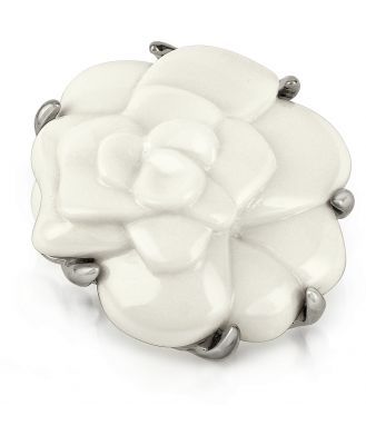 AZ Collection Designer Brooches & Pins, White Camelia Flower Brooch