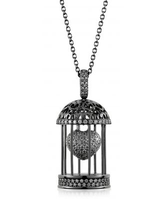 Azhar Designer Necklaces, Gabbietta Silver and Zircon Cage Pendant Necklace
