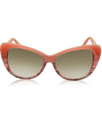 Balenciaga Designer Sunglasses, BA0016 44F Coral Striped Burgundy Cat Eye Women's Sunglasses