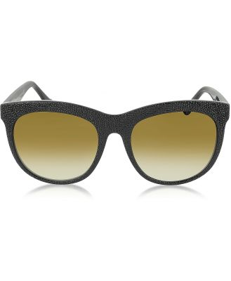 Balenciaga Designer Sunglasses, BA0024 04F Black Rubber & Acetate Cat Eye Sunglasses
