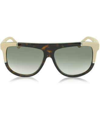 Balenciaga Designer Sunglasses, BA0025 Acetate Shield Women's Sunglasses w/Rubber Details