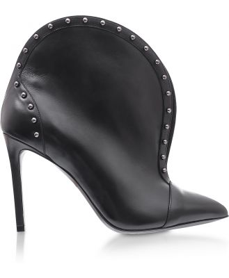 Balmain Designer Shoes, Iren Black Leather Pointed Toe High Heel Booties w/Studs