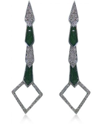 Bernard Delettrez Designer Earrings, White Gold Snake Earrings w/ Diamonds & Green Enamel