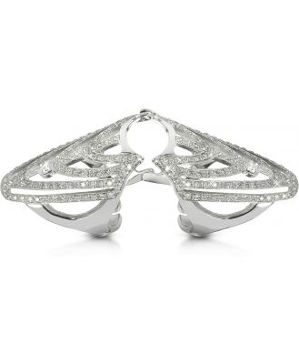 Bernard Delettrez Designer Rings, White Gold and Diamonds Shield Articulated Ring