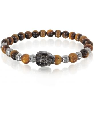 Blackbourne Designer Men's Bracelets, Brown Tigers Eye Irregular Stone Men's Bracelet w/Gunmetal Swarovski Crystal Skull