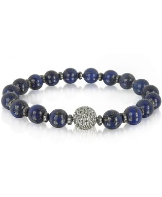 Blackbourne Designer Men's Bracelets, Lapis Lazuli Small Stone Men's Bracelet w/Brass Golf Ball