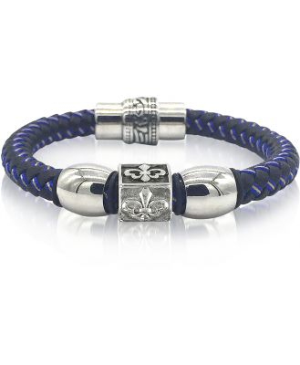 Blackbourne Designer Men's Bracelets, Lily Engraved Stainless Steel and Braided Leather Men's Bracelet