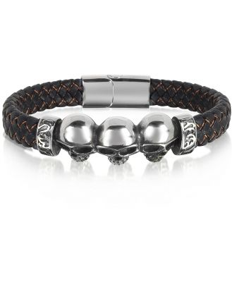 Blackbourne Designer Men's Bracelets, Stainless Steel and Leather Skulls Men's Bracelet