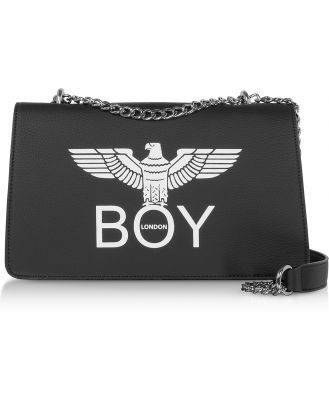 BOY London Designer Handbags, Black Synthetic Leather Shoulder Bag