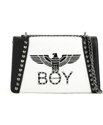 BOY London Designer Handbags, Black & White Synthetic Leather Shoulder Bag