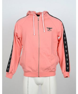 BOY London Designer Sweatshirts, Salmon Pink Cotton Zip Front Hoodie