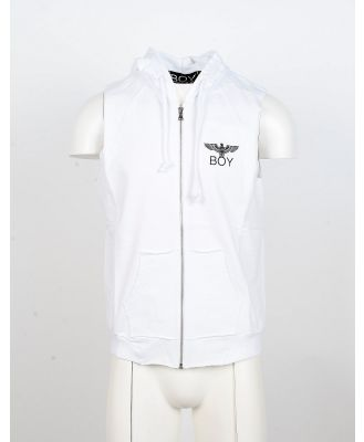 BOY London Designer Sweatshirts, White Sleeveless Zip Front Hoodie