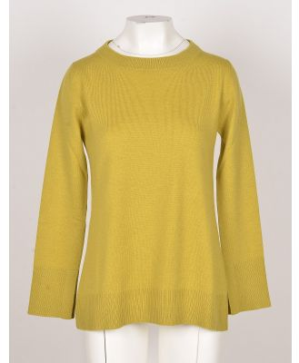 Bruno Manetti Designer Knitwear, Apple Green Wool, Silk and Cashmere Blend Women's Sweater