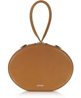 Cafuné Designer Handbags, Caramel Leather Egg Bag