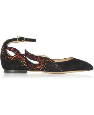 Charlotte Olympia Designer Shoes, Feelin' Hot Hot Hot! Black Suede Ballerinas