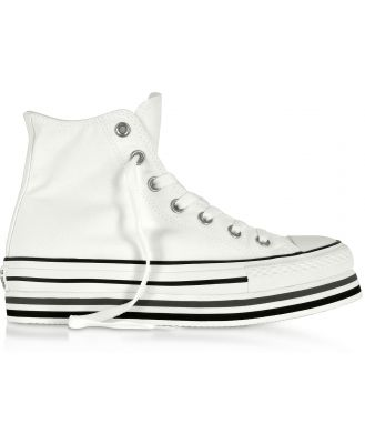 Converse Limited Edition Designer Shoes, Chuck Taylor All Star Platform Layer White Sneakers