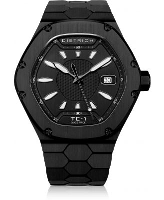 Dietrich Designer Men's Watches, TC-1 PVD Stainless Steel w/White Luminova and Black Dial