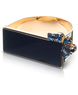 Egotique Designer Bracelets, Arlequin Golden Brass Cuff w/Black Top and Two Tone Crystals