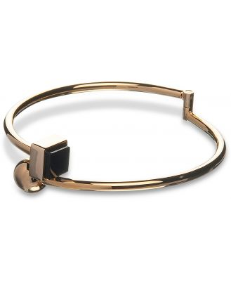 Egotique Designer Bracelets, Arlequin Golden Brass Thin Bangle w/Black Stone
