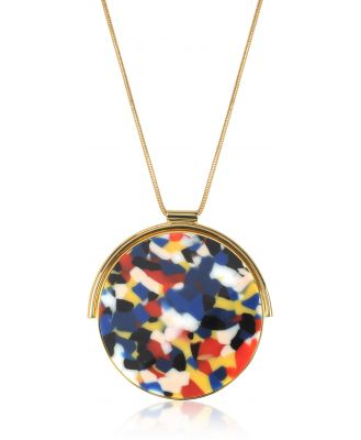 Egotique Designer Necklaces, Arlequin Golden Brass Long Necklace w/Multicolor Round Pendant