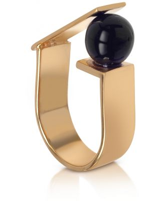 Egotique Designer Rings, Arlequin Golden Brass Ring w/Black Glass Pearl
