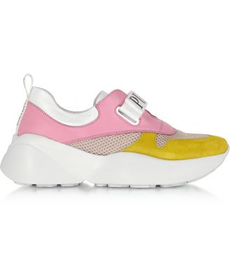 Emilio Pucci Designer Shoes, Pink & Lime Green Leather and Nylon Sneakers