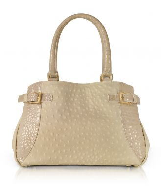 Fontanelli Designer Handbags, Beige Gray Ostrich & Croco Embossed Leather Satchel Bag