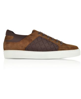 Fratelli Borgioli Designer Shoes, Cigar Brown Suede and Quilted Nylon Men's Sneakers