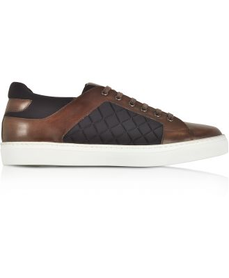 Fratelli Borgioli Designer Shoes, Coffee Brown Leather and Quilted Nylon Men's Sneakers