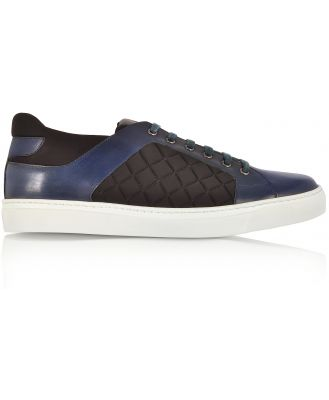 Fratelli Borgioli Designer Shoes, Navy Blue Leather and Black Quilted Nylon Men's Sneakers