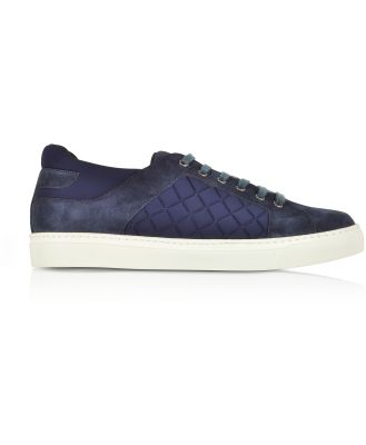 Fratelli Borgioli Designer Shoes, Navy Blue Suede and Quilted Nylon Men's Sneakers