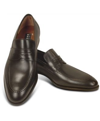 Fratelli Rossetti Designer Shoes, Dark Brown Calf Leather Penny Loafer Shoes